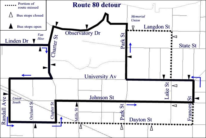 detour map for route 80