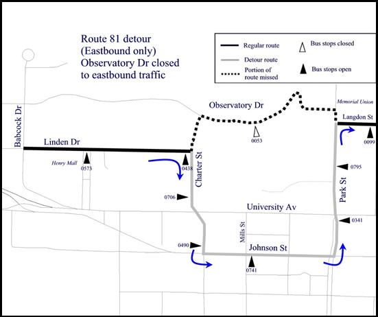 Route 81 eastbound detour map