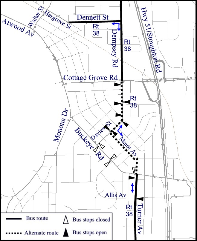 Detour map from Buckeye. Board on Davies or Turner Ave.
