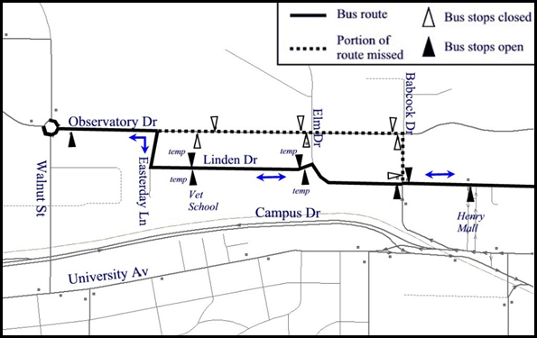 Detour Flyer showing buses traveling down Linden to Easterday