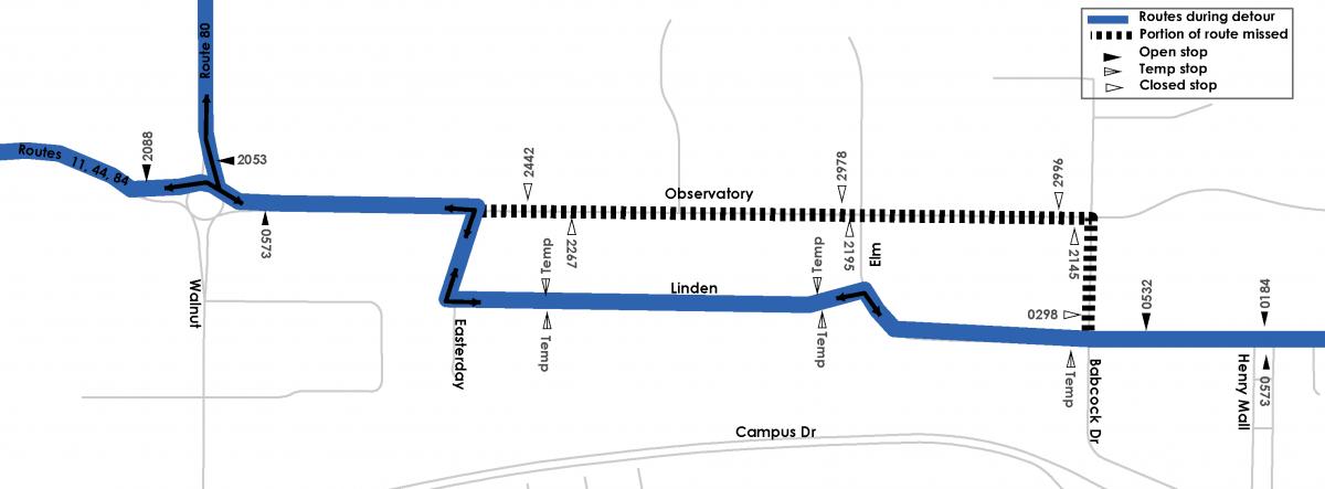 Detour map for Routes, 11, 44, 80 & 84.