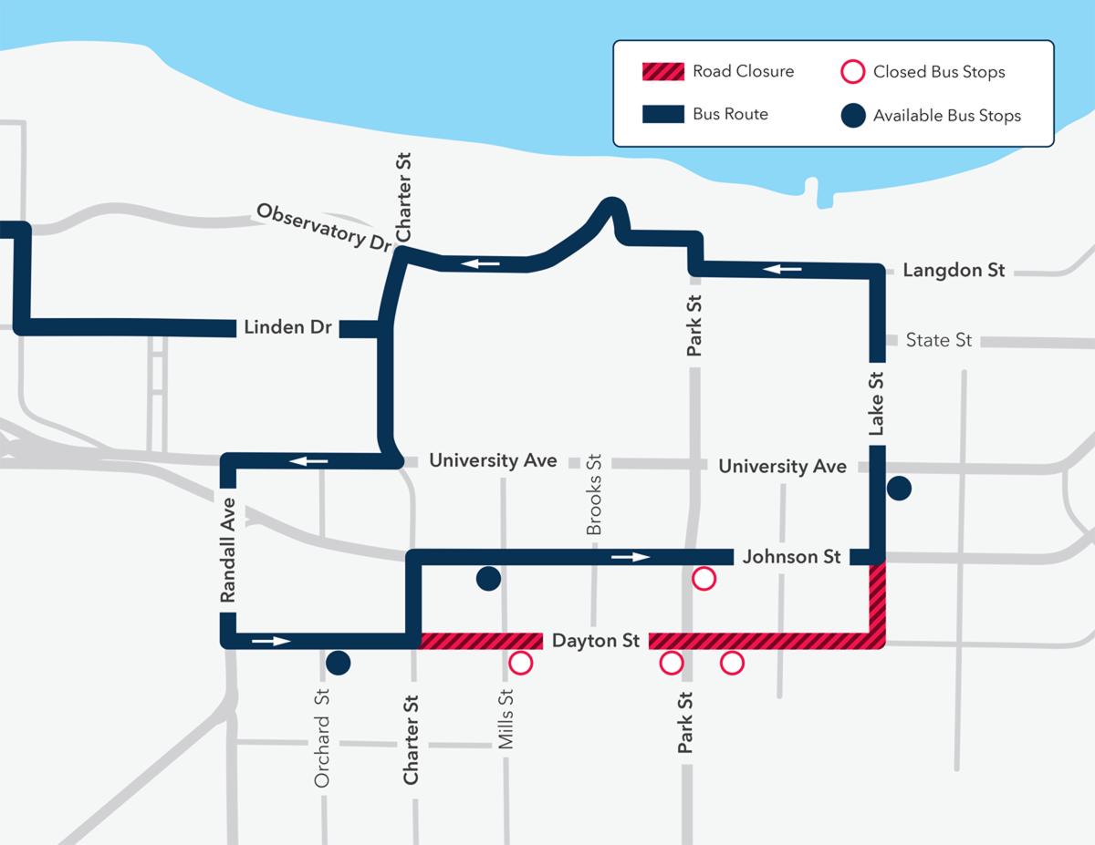 Buses detour from Dayton St. Board on Johnson or Lake