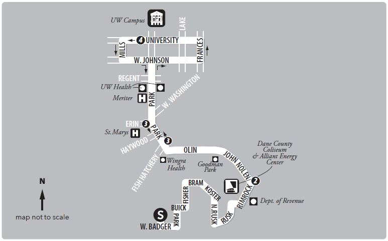 Route 13 service to/from the south transfer point to UW