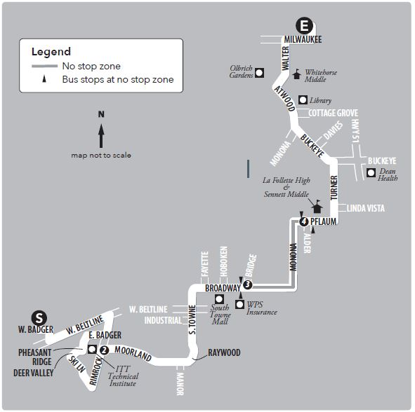 Route 16 service to/from south transfer point and east transfer point