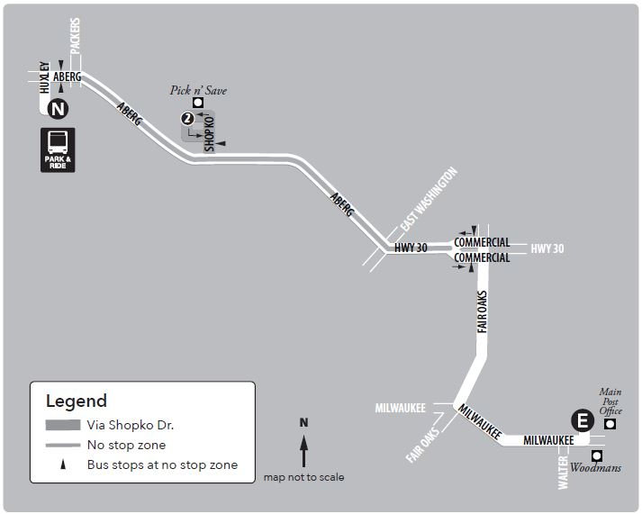 Route 17 service to/from north transfer point and east transfer point