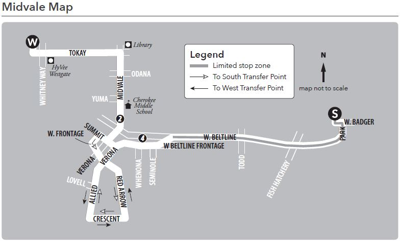 Route 18 service to/ from west transfer point to south transfer point using Midvale