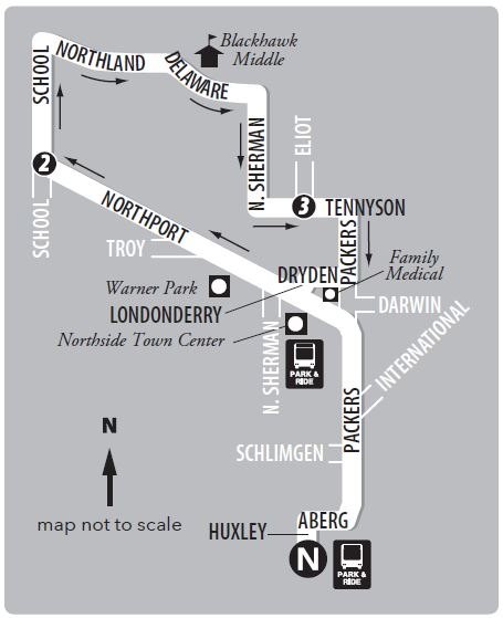 Route 21 northside loop service