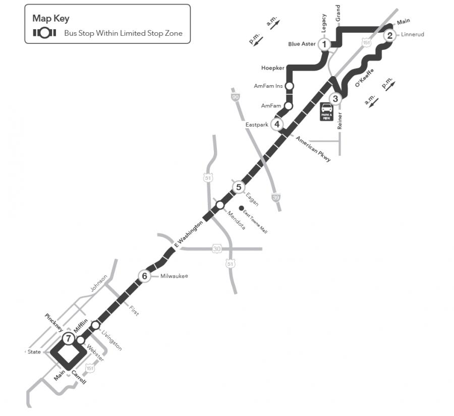 Route 23 map to Sun Prairie