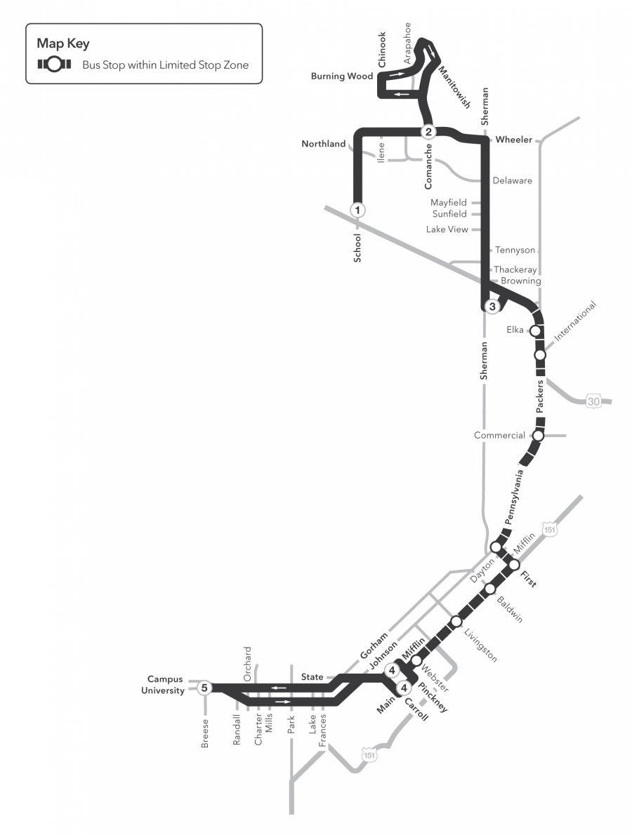 Route 29 Service to/from North to UW campus