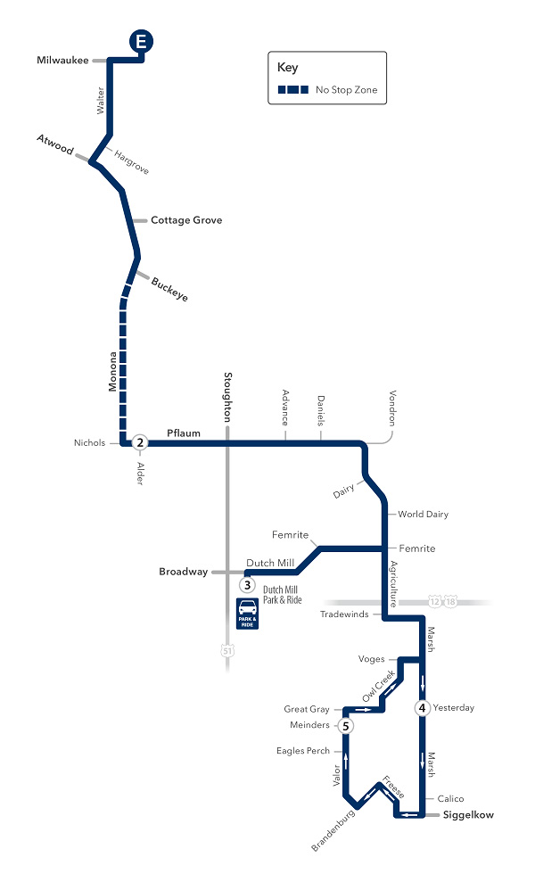 Route 31 service to/from east transfer point and south east
