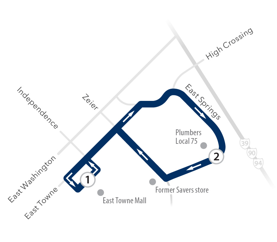 Route 36 service around East Towne Mall