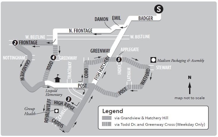 Route 40 service to/from south transfer point and Fitchburg