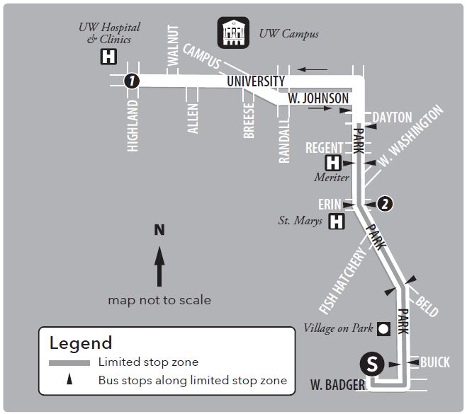 Route 48 service to/from UW Hospital and south transfer point