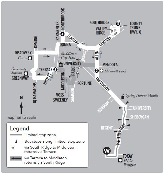 Route 78 service to/from Middleton and west transfer point