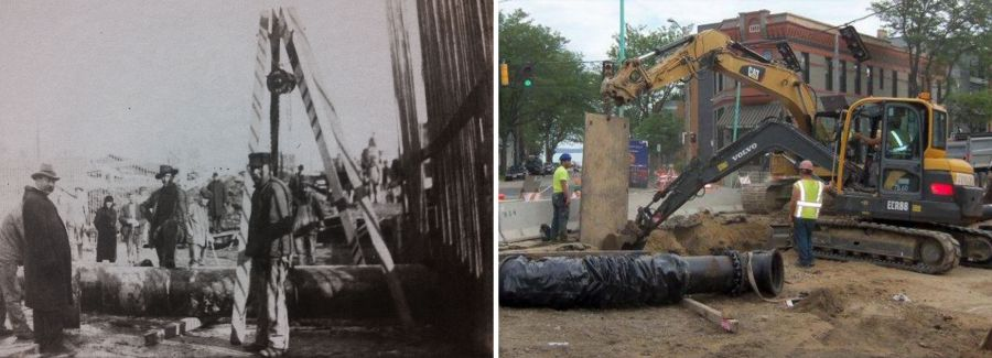 Water main installation in the 1880s and today