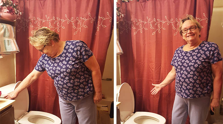 Gloria LeMay checks out her new HE toilet