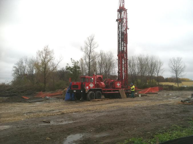 Drill tower at new well site