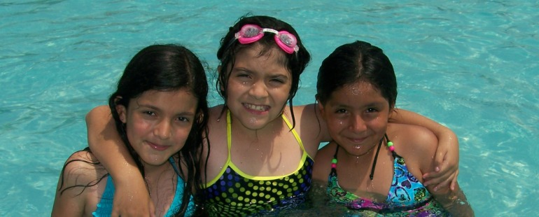 three girls in the pool