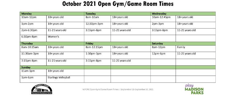 October Open Gym Schedule