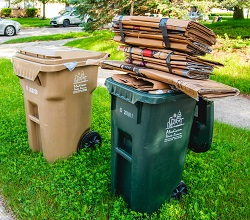 Bundles at the curb or take to a drop-off site. Also, be sure you have a large enough cart.