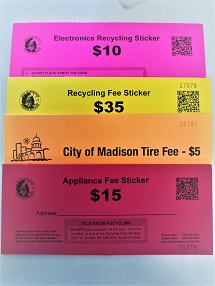 Photo of the recycling fee sticker options