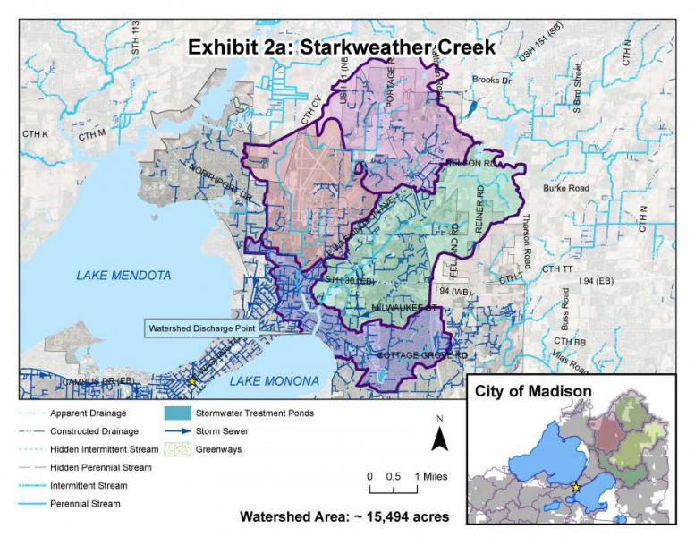 Starkweather Creek watershed extends from the airport to Olbrich Park and as far east as Reiner Road.