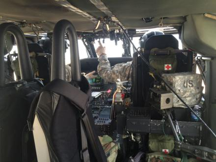 photo from inside the Blackhawk helicopter