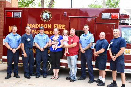 Ladder 6 and Medic 6 crew w/ Johnson family