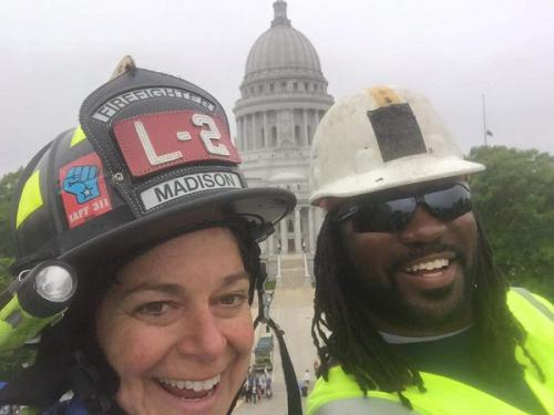 Firefighter & MG&E worker selfie