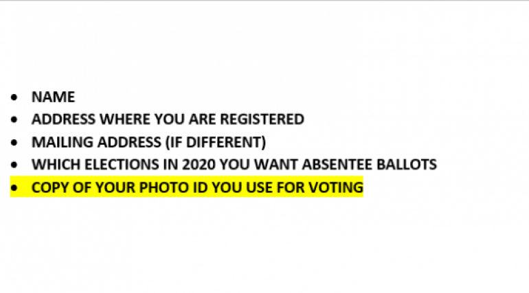 A list of the information needed for an absentee ballot request