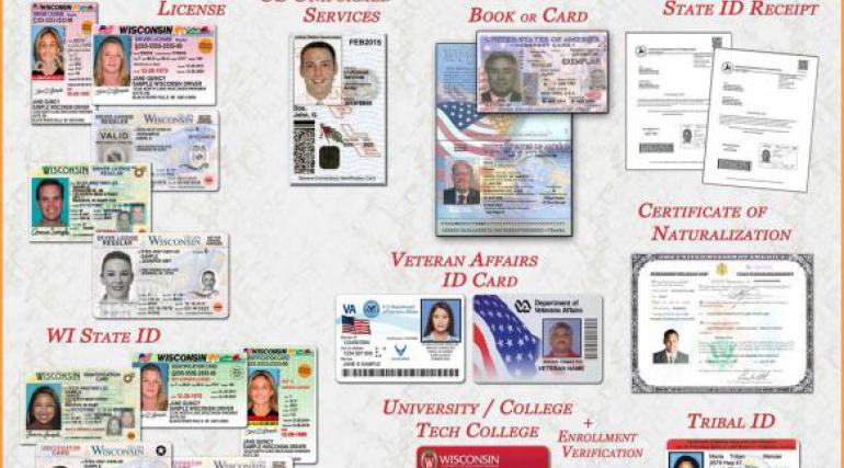 Graphic showing acceptable forms of photo ID for voting in Wisconsin
