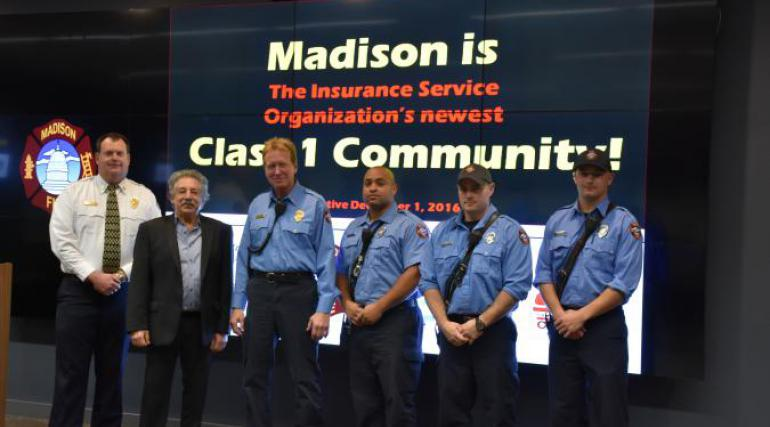 Chief Davis, Mayor Soglin, and Firefighters