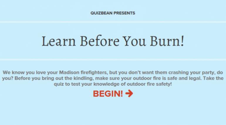 Learn Before You Burn Quiz homepage