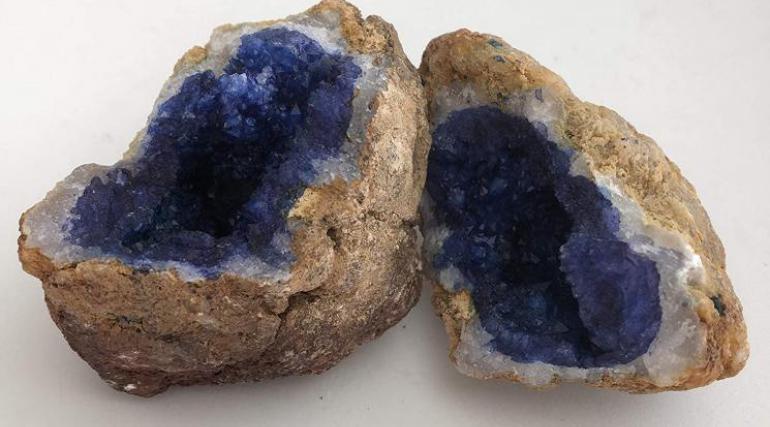 Vivid Blue Dyed Quartz Crystal Geode