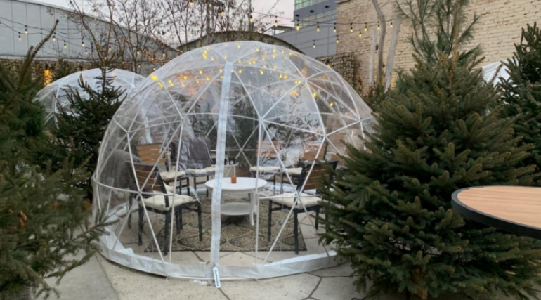 Heated dome outside a local restaurant
