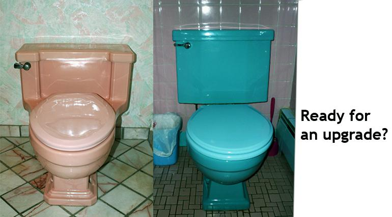 Pink and blie toilets