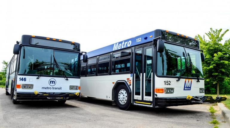 Two Metro buses.