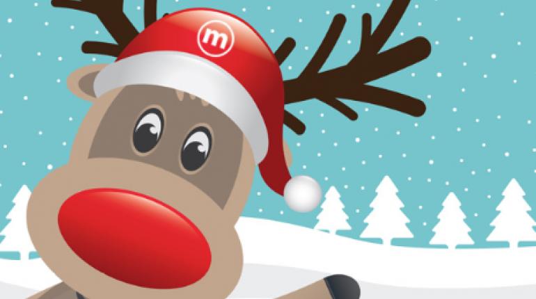 Reindeer with Santa hat waving.