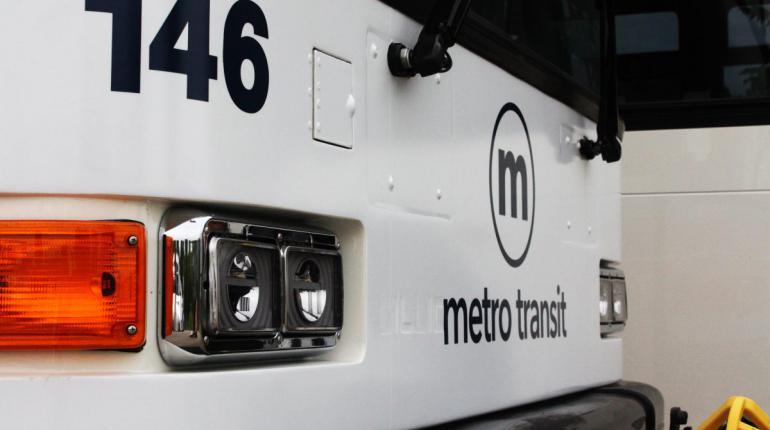 Front of Metro bus.