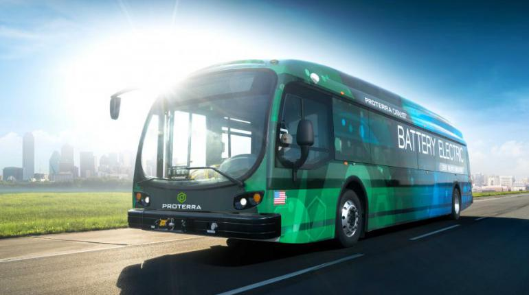 An all-electric Proterra bus on the street