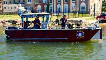 Profile view of Lake Rescue boat