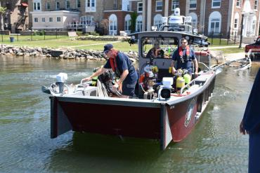 Front view of Lake Rescue boat