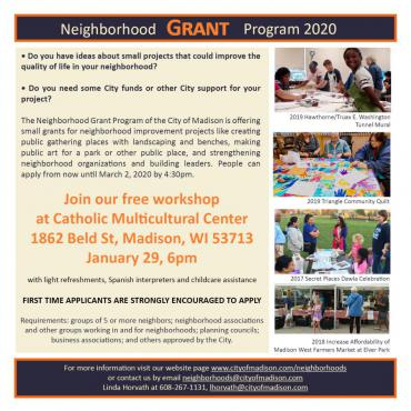 Workshop January 29 at 6:00 p.m.