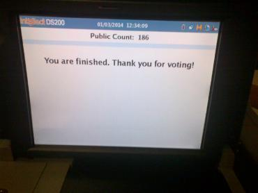 """Thank you for voting"" message confirms that ballot was counted."