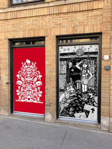 Example of what two downtown doors might look like after they are wrapped with art (Laura Komai's work left, T.L. Luke's work ri