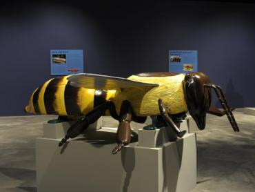 Yellow and brown Honey Bee coffin by Ghanian Fantasy Coffin maker Eric Adjetey Anang