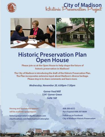 Flyer for Historic Preservation Plan Open House