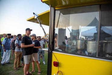 food cart with people at the window