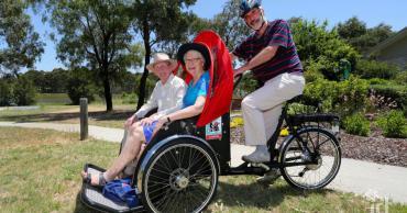 Riding a trishaw