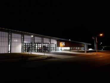 Fire Station 14 exterior at night